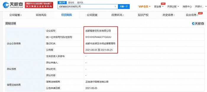 成都爱奇艺简易注销公司注册资本10亿元