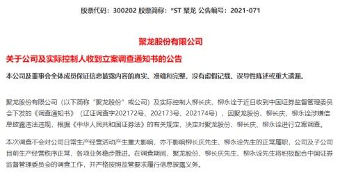 逾7万股民揪心ST新海ST聚龙同日遭调查背后又是资金占用